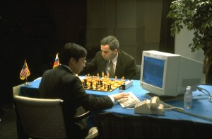 17 Feb 1996, Philadelphia, Pennsylvania, USA --- GARRY KASPAROV PLAYS AGAINST DEEP BLUE --- Image by � LAURENCE KESTERSON/CORBIS SYGMA