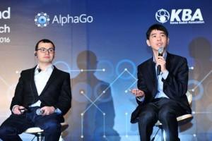 Демис Хассабис на пресс-конференции матча между AlphaGo и корейским мастером Ли Седолем в Сеуле